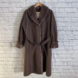 LONDON FOG Vintage Long Brown Coat Faux Fur Trim